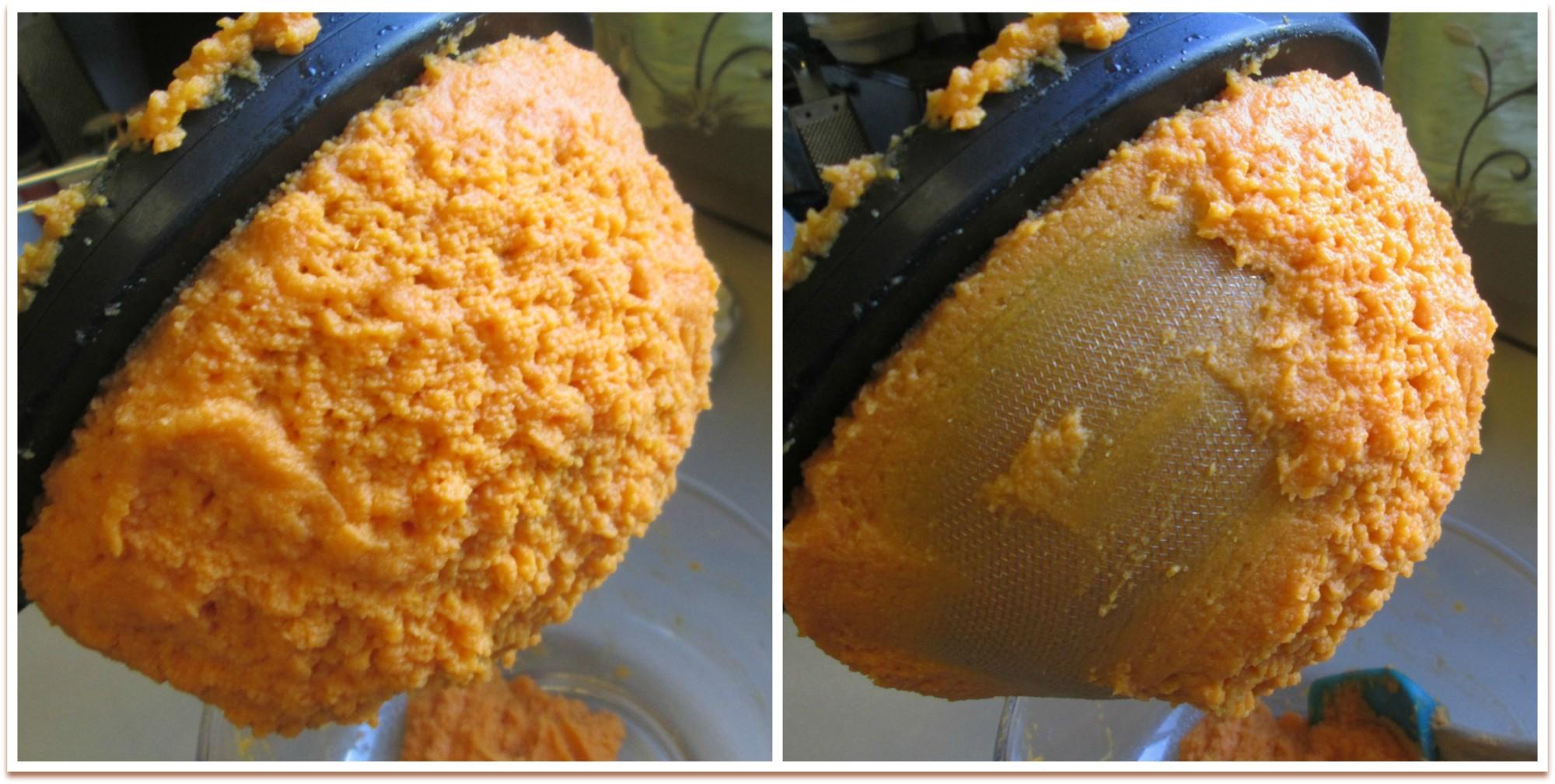 Sweet Potatoes pushed through sieve for ultra creamy, non-stringy sweet potato mash. Portlandia Pie Lady.