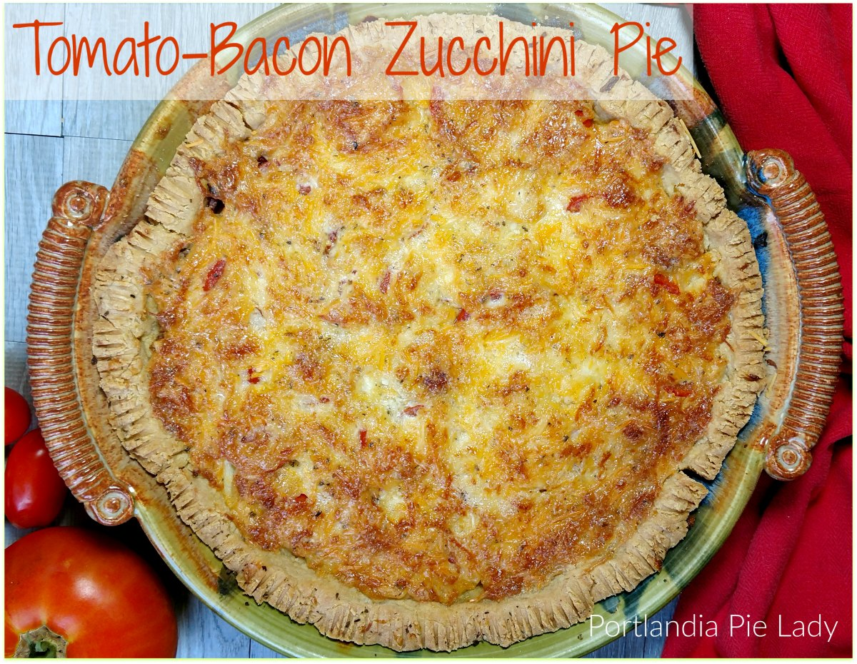 "Tomato-Bacon Zucchini Pie: AKA ""Garden Crack!"" A truly divine savory summer pie, crispy bacon, and sun ripe tomatoes; the perfect way to give your zucchini a new twist."