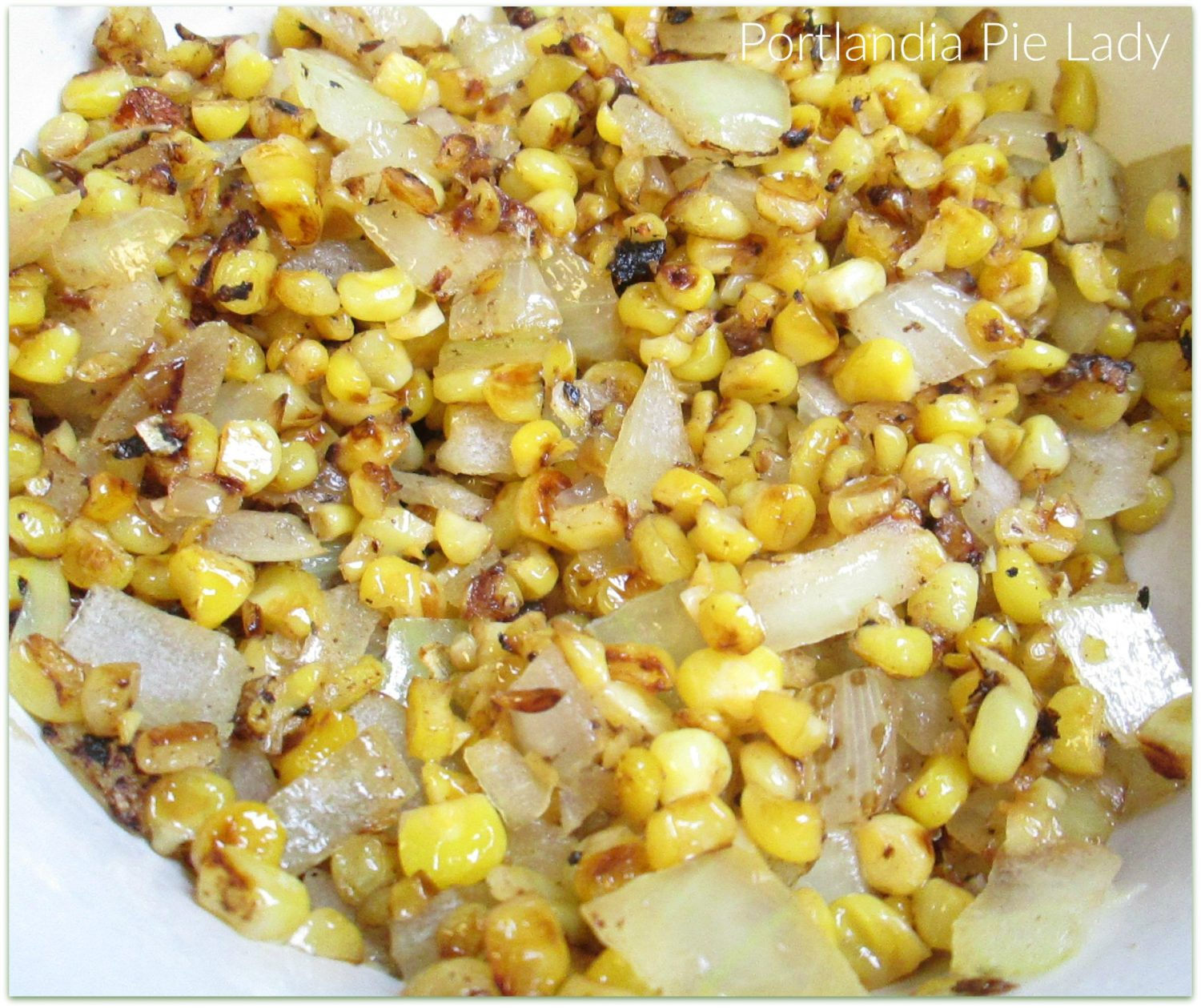 Pan-roasted corn and onions to bring out flavors.