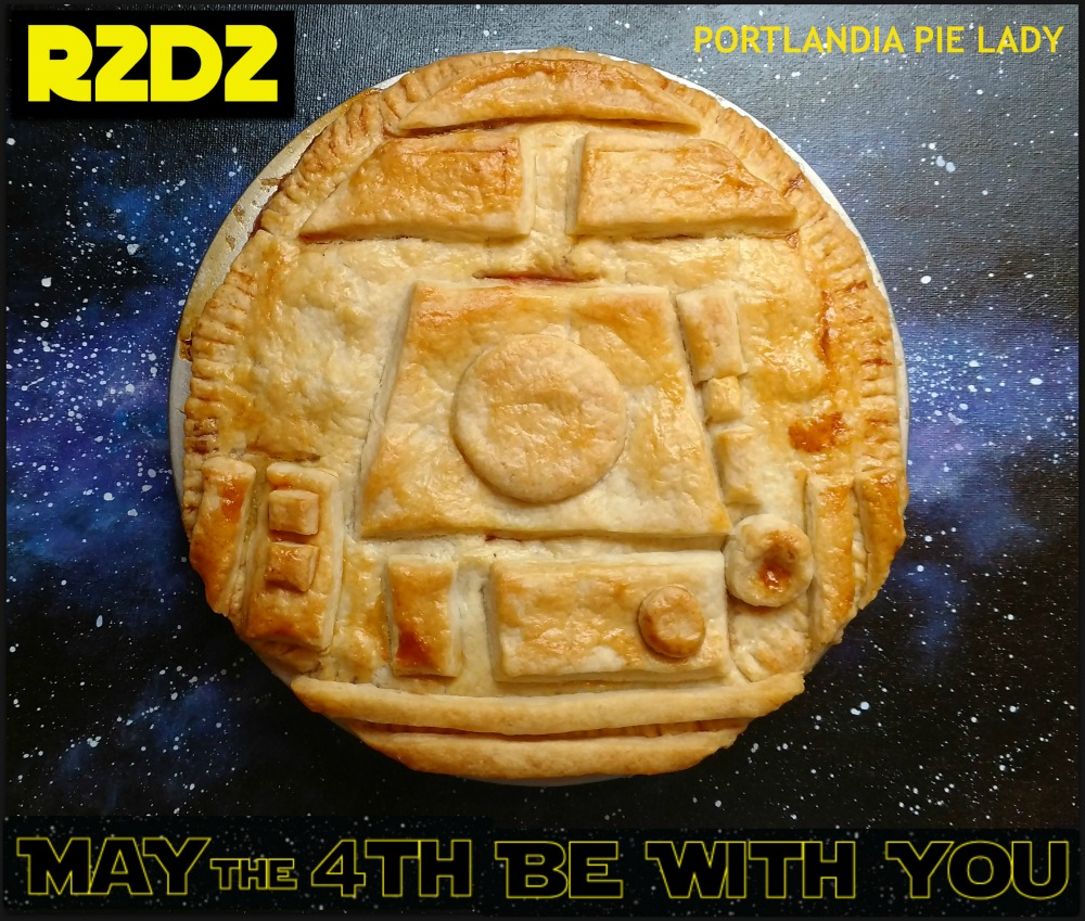 Your intergalactic empire awaits your immortalized droid of all droids R2D2 fruit-filled pie. Harness your Jedi powers and May The 4th Be With You.