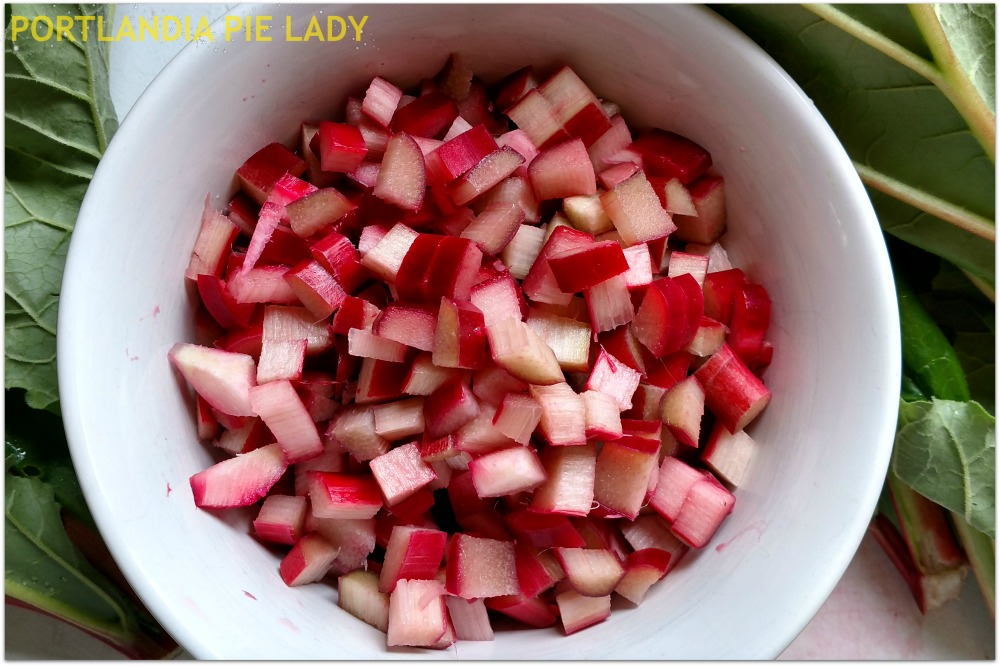 Fresh chopped rhubarb straight from the garden!