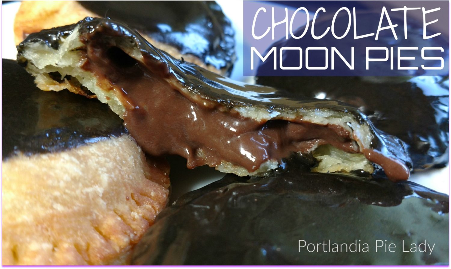 Chocolate Moon Hand Pies: Creamy smooth rich-tasting chocolate filling in a perfect buttermilk flaky crust with just the right amount of glaze, just in time for the solar eclipse!