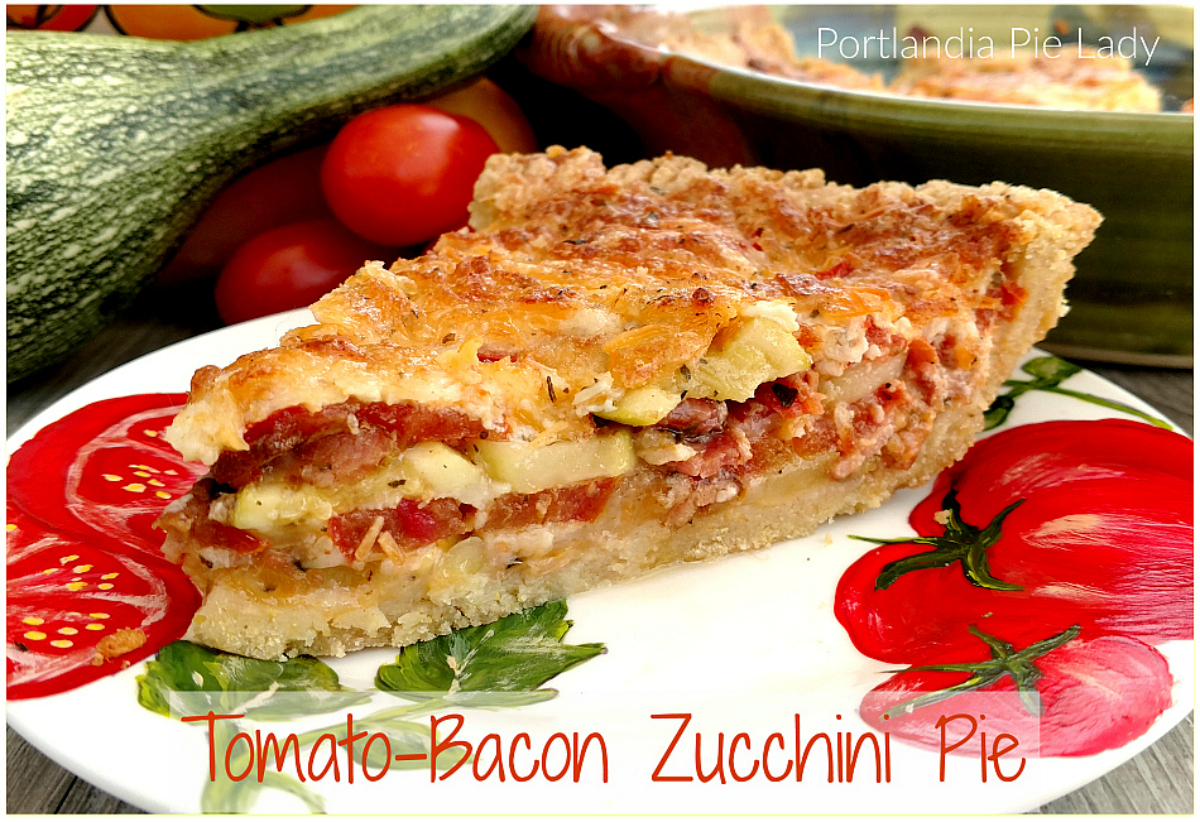 """Tomato-Bacon Zucchini Pie: AKA """"Garden Crack!"""" A truly divine savory summer pie, crispy bacon, and sun ripe tomatoes; the perfect way to give your zucchini a new twist."""