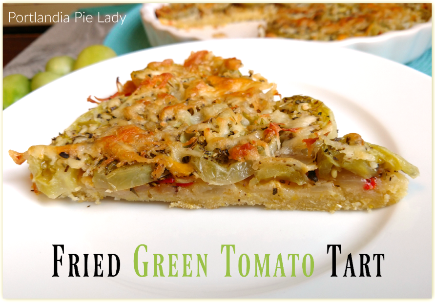 Fried Green Tomato Tart: Tangy green garden tomatoes baked with fresh garlic, basil, and smokey cheese with the ultimate masa crust; it is a taste like none other. Brunch is served!