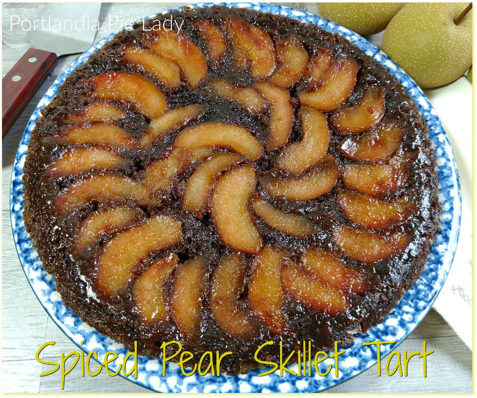 Spiced Pear Skillet Tart: Fresh crisp fall pears baked into a caramelized brown sugar buttered-spiced upside-down tart that is out of this world!