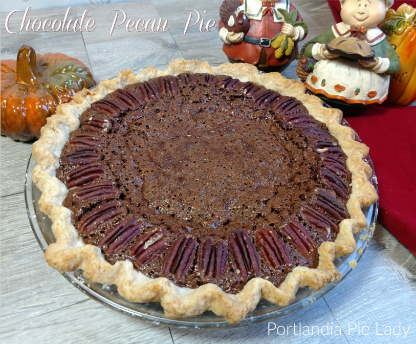 Chocolate Pecan Pie: Bittersweet chocolate combined with chopped pecans ensures every bite is packed full of nuts; this may soon replace the old classic pecan pie.